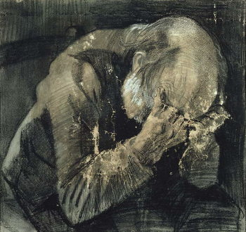 Man with his head in his hands Taidejuliste