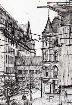 Manchester town hall from City Art Gallery, 2007, Taidejuliste