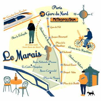 Map of Le Marais, Paris Taidejuliste