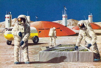 Men working on the planet Mars, as imagined in the 1970s Taidejuliste
