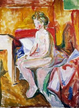 Nude on edge of bed, 1916 Taidejuliste