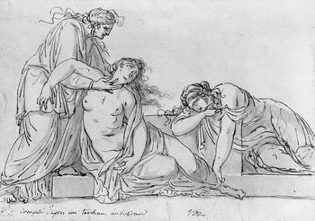 Old woman leaning over two fainting women, c.1776 Taidejuliste