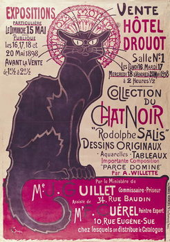 Poster advertising an exhibition of the 'Collection du Chat Noir' cabaret at the Hotel Drouot, Paris, May 1898 Taidejuliste