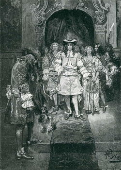 Quaker and King at Whitehall, engraved by Frank French (1850-1933) illustration from 'The Early Quakers in England and Pennsylvania' by Howard Pyle, pub. in Harper's Magazine, 1882 Taidejuliste
