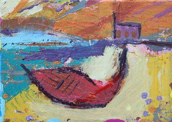 Red boat Iona Taidejuliste