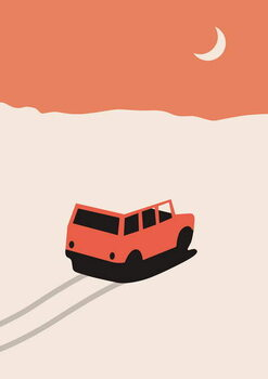 Red Car in Desert with moon Taidejuliste