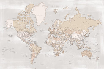 Kuva Rustic detailed world map with cities, Lucille