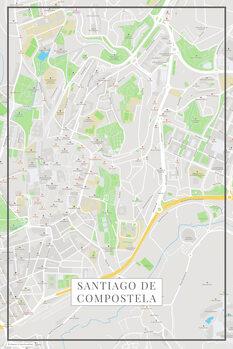 Kartta Santiago de Compostela color