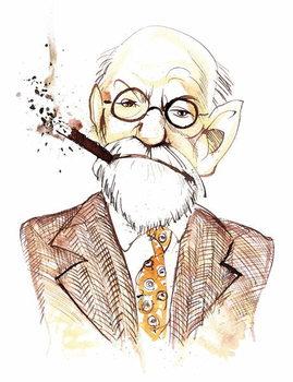 Sigmund Freud Austrian neurologist and psychotherapist of Czech birth ; caricature Taidejuliste