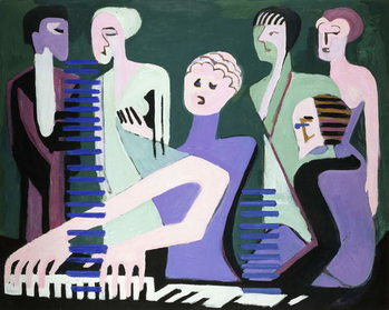 Singer on piano (pianist), 1929 Taidejuliste