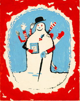 Snowman with many arms, 1970s Taidejuliste