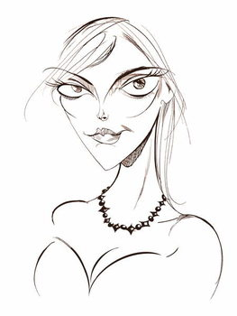Sophie Dahl, English author and model, sepia line caricature, 2008 by Neale Osborne Taidejuliste