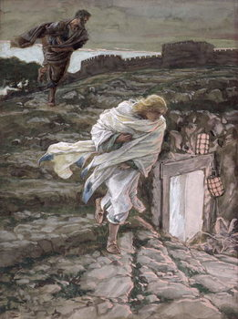 St. Peter and St. John Run to the Tomb, illustration for 'The Life of Christ', c.1886-94 Taidejuliste