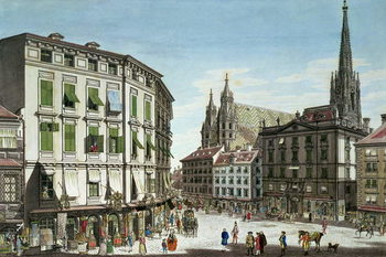 Stock-im-Eisen-Platz, with St. Stephan's Cathedral in the background, engraved by the artist, 1779 Taidejuliste