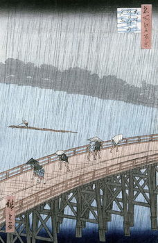 Sudden Shower over Shin-Ohashi Bridge and Atake (Ohashi Atake no Yudachi), from the series 'Meisho Edo Hyakkei' (One Hundred Famous Views of Edo) Taidejuliste