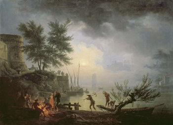 Sunrise, A Coastal Scene with Figures around a Fire, 1760 Taidejuliste