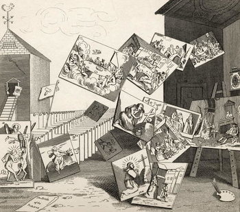 The Battle of the Pictures, from 'The Works of Hogarth', published 1833 Taidejuliste