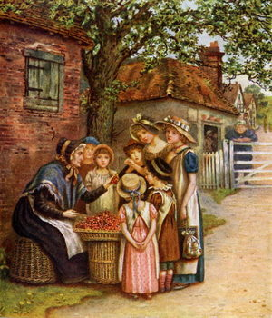 'The cherry woman' by Kate Greenaway. Taidejuliste
