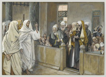 The Chief Priests Ask Jesus by What Right Does He Act in This Way, illustration from 'The Life of Our Lord Jesus Christ', 1886-94 Taidejuliste