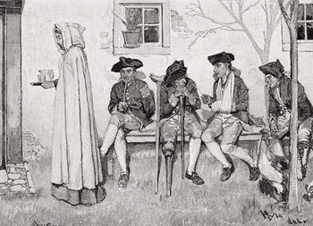 'The Wounded Soldiers Sat Along the Wall', illustration from Harper's Magazine, October 1889 Taidejuliste