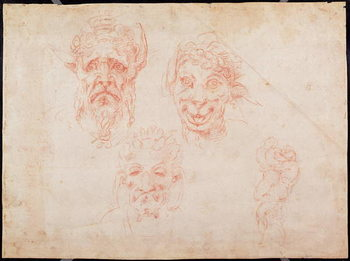 W.33 Sketches of satyrs' faces Taidejuliste