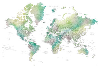 Kuva Watercolor world map with cities in muted green, Oriole