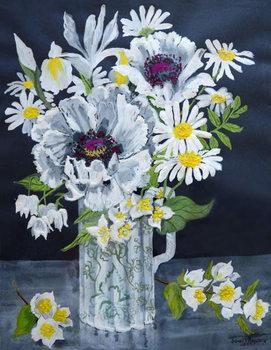 White Poppies, Marguerites and Philadelphus, Taidejuliste