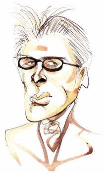 William Butler Yeats Irish poet and playwright ; caricature Taidejuliste