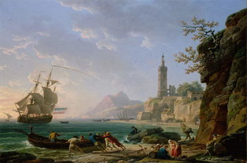 A Coastal Mediterranean Landscape with a Dutch Merchantman in a Bay, 1769 Taidejuliste