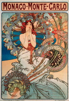 Advertising poster by Alphonse Mucha  for the railway line Monaco, Monte Carlo, 1897 - Dim 74x108 cm Advertising poster by Alphonse Mucha for railway lines between Monaco and Monte Carlo, 1897 - Private collection Taidejuliste