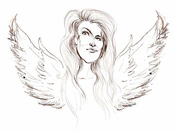Angela Carter, English novelist and journalist; caricatured with wings in reference to her novel 'Nights at the Circus' Taidejuliste