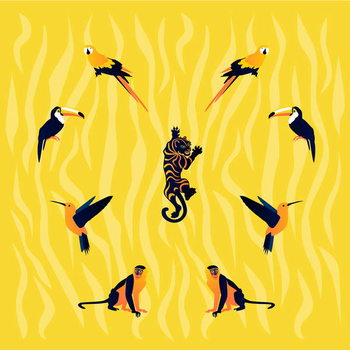 animals-yellow-black Taidejuliste