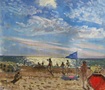 Blue flag and red sun shade, Montalivet Taidejuliste