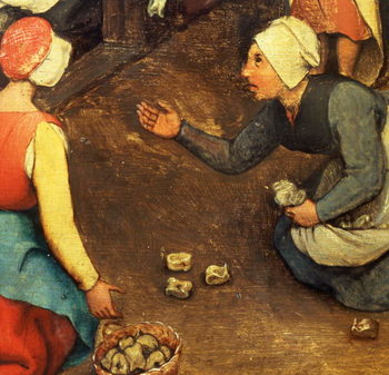 Children's Games (Kinderspiele): detail of a game throwing knuckle bones, 1560 (oil on panel) Taidejuliste