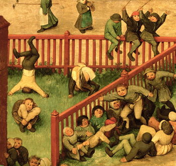 Children's Games (Kinderspiele): detail of left-hand section showing children running the gauntlet, doing gymnastics and balancing on a fence, 1560 (oil on panel) Taidejuliste
