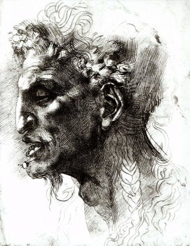 Head of a Satyr (pen & ink on paper) Taidejuliste