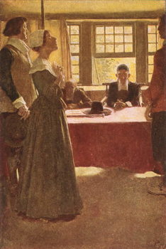 Mary Dyer Brought Before Governor Endicott, illustration from 'The Hanging of Mary Dyer' by Basil King, pub. in McClure's Magazine, 1906 Taidejuliste