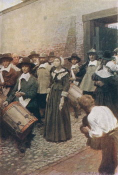 Mary Dyer on her Way to the Scaffold, illustration from 'The Hanging of Mary Dyer' by Basil King, pub. in McClure's Magazine, 1906 Taidejuliste