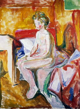 Nude on edge of bed, 1916 Taidejuliste
