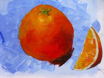 Orange and slice  2019 acrylic on paper Taidejuliste