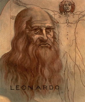 Portrait of Leonardo da Vinci with his `Vitruvian Man' Taidejuliste