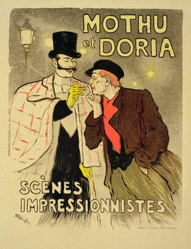 Reproduction of a poster advertising 'Mothu and Doria'in impressionist scenes, 1893 Taidejuliste