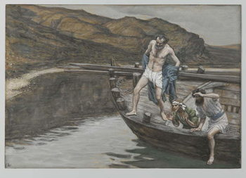 Saint Peter Alerted by Saint John to the Presence of the Lord Casts Himself into the Water, illustration from 'The Life of Our Lord Jesus Christ', 1886-94 Taidejuliste