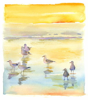 Seagulls on beach, 2014, Taidejuliste
