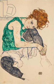 Seated Woman with Bent Knees, 1917 Taidejuliste