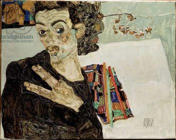 Self-portrait with fingers apart. Painting by Egon Schiele , 1911. Oil on canvas. Sun: 27,5x34 Vienne, Historisches Museum of the City Taidejuliste