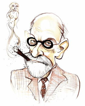 Sigmund Freud Austrian neurologist and psychotherapist of Czech birth ; caricature Taidejuliste