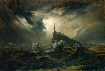Stormy sea with Lighthouse Taidejuliste