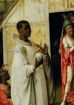 The Adoration of the Magi: detail of King Balthazar from the central panel of the triptych, 1510 Taidejuliste