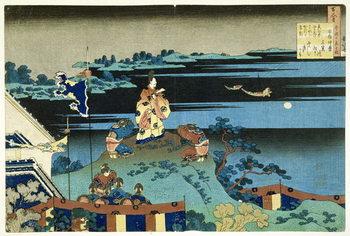 The Exiled Poet Nakamaro ('Abe no Nakamaro'), from the series '100 Poems Explained by the Nurse' ('Hyakunin isshu uba ga etoki') pub. c.1838, Taidejuliste